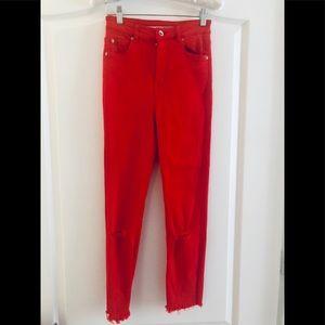 Zara highwaisted red skinny jeans 4